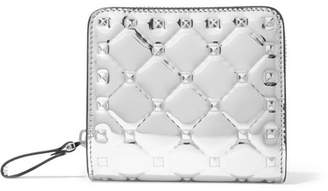 Valentino Garavani The Rockstud Spike Quilted Metallic Patent-leather Wallet - Silver