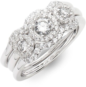 Lafonn Three Stone Halo Engagement Ring & Wedding Band Set