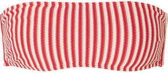Peony - Striped Jacquard-knit Bandeau Bikini Top - Crimson
