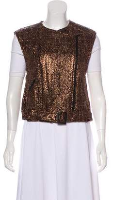 Alice + Olivia Metallic Tweed Biker Vest