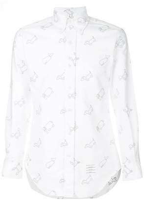 Thom Browne Half-Drop Toy Icon-Embroidered Classic Long Sleeve Oxford Shirt