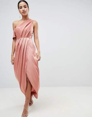 d51e743334f8c Asos Design Hammered Satin One Shoulder Maxi Dress