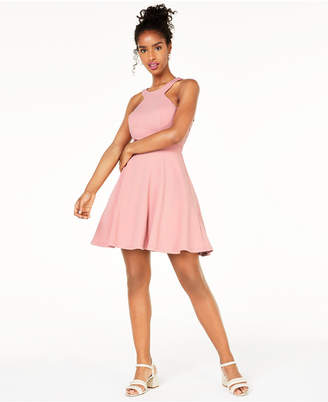 City Studios Juniors' Lace Open-Back Fit & Flare Dress