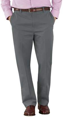Charles Tyrwhitt Grey Classic Fit Flat Front Non-Iron Cotton Chino Pants Size W34 L34