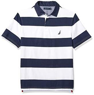 ad298d8a0f921 Nautica Men s Classic Fit Short Sleeve 100% Cotton Rugby Stripe Polo Shirt