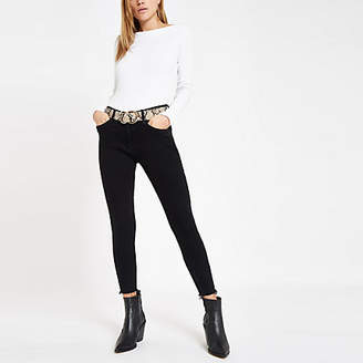 River Island White ribbed boat neck long sleeve top