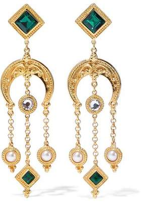 Ben-Amun 24-Karat Gold-Plated Swarovski Crystal And Faux Pearl Clip Earrings