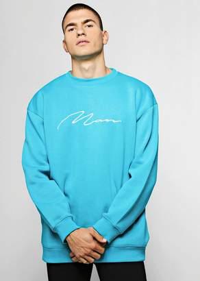 boohoo Oversized MAN Signature Embroidered Sweater