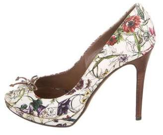 Gucci Floral Peep-Toe Pumps