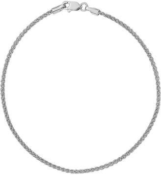 FINE JEWELRY 14K White Gold Solid Wheat Chain Bracelet