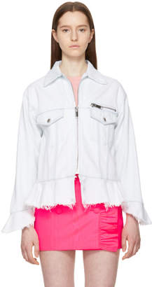 MSGM Blue Ruffled Denim Jacket