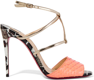 Christian Louboutin Lovabrida 100 metallic leather-trimmed python sandals $995 thestylecure.com