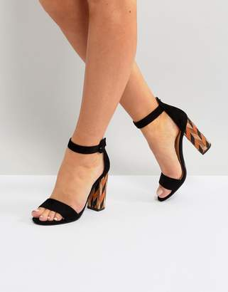Glamorous Block Heeled Sandal With Patterned Block in Black