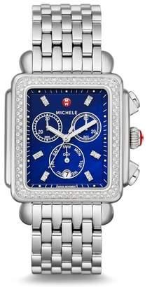 Michele Deco XL Diamond Chronograph Head & Bracelet Watch, 36mm x 38mm