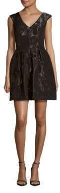Aidan Mattox Floral Motif Sleeveless Dress