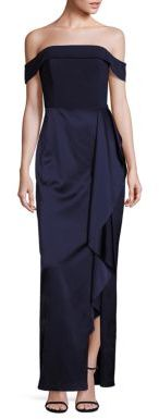 Laundry by Shelli Segal Platinum Off-the-Shoulder Satin Gown $695 thestylecure.com
