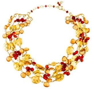 18K Citrine & Fire Opal Choker Necklace