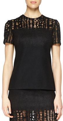 Jason Wu Cashmere-Blend Lace-Yoked T-Shirt $1,995 thestylecure.com