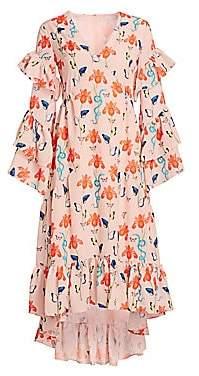 Borgo de Nor Women's Luna Long Sleeve Ruffled Gown