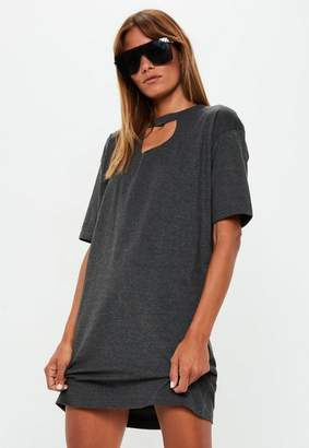 Missguided Gray Oversized Ripped T Shirt Dress