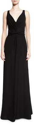 Armani Collezioni Techno Cady V-Neck Sleeveless Gown, Black