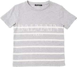 Balmain Striped Logo Print Cotton Jersey T-Shirt
