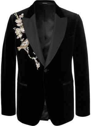 Alexander McQueen Slim-Fit Embellished Silk Grosgrain-Trimmed Cotton-Velvet Blazer