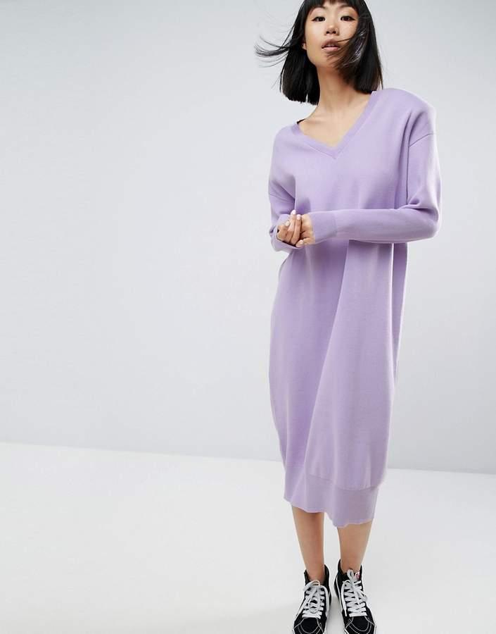 ASOS White ASOS WHITE Shoulder Pad Knitted Midi Dress