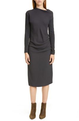 Brunello Cucinelli Gathered Mixed Media Long Sleeve Midi Dress