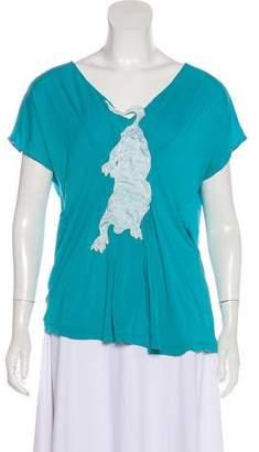 Maison Margiela Silk Embellished Short Sleeve Top