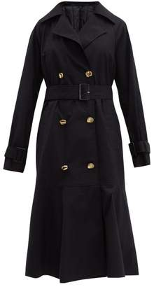 Tibi Double Breasted Cotton Trench Coat - Womens - Navy