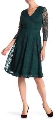 Alexia Admor V-Neck Lace Fit & Flare Dress