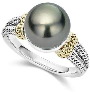 Lagos 18K Gold and Sterling Silver Luna Cultured Tahitian Pearl Ring