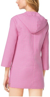 Michael Kors Gingham Hooded Wool Tunic