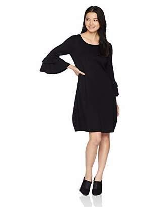 Gabby Skye Women's Petite 3/4 Tier Sleeve Round Neck Sweater A-Line Dress