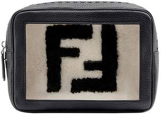 Fendi shearling logo pouch