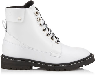 Jimmy Choo The Voyager: SNOW/F White Shiny Calf Leather Ankle Boots with Heated Soles