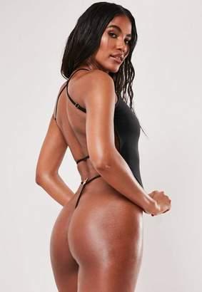 Missguided Playboy X Black Cross Back High Leg G String Swimsuit