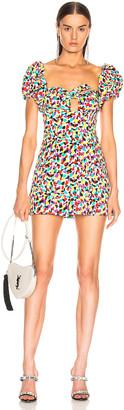 ATTICO Jacquard Puffy Sleeve Mini Dress in Multicolor Spot | FWRD