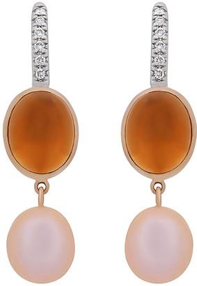 Mimi Milano 18K Two-Tone 6.96 Ct. Tw. Diamond, Citrine & Pearl Earrings