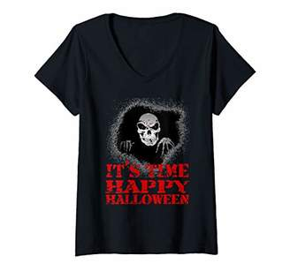 Womens It's time Happy Halloween. Skeleton in your closet red eyes V-Neck T-Shirt