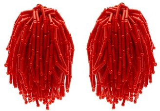 Vanda Jacintho - Shower Beaded Clip On Earrings - Womens - Orange