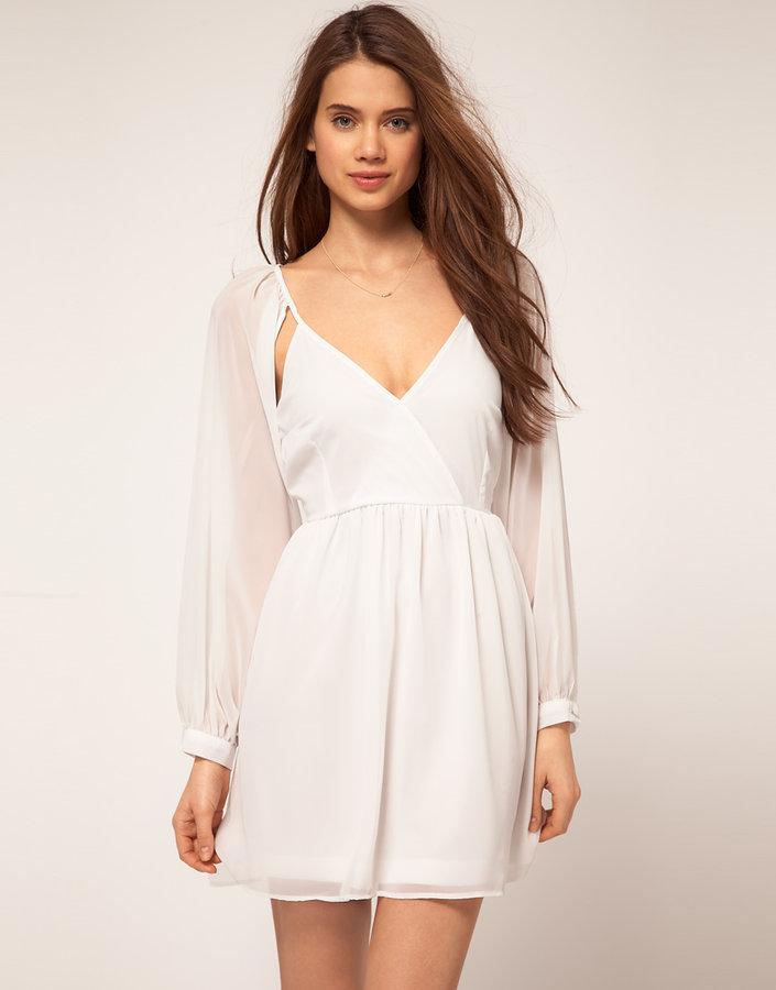 Rare Chiffon Wrap Dress With Cut Out Shoulder