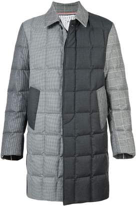 Thom Browne Downfilled Classic Bal Collar Overcoat In Funmix In Prince Of Wales Heavy Wool