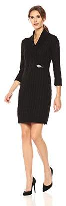 Calvin Klein Women's Waffle Knit Turtleneck Sweater Dress