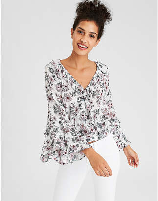 American Eagle AE Wrap Front Ruffle Sleeve Top