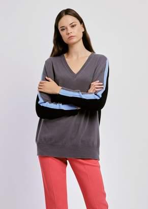 Emporio Armani Pure Cashmere Plain-Knit Sweater With V Neckline