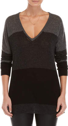 Brodie Color Block V-Neck Cashmere Sweater