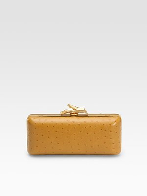 Tonda Ostrich Embossed Leather Convertible Clutch