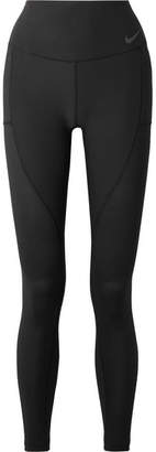Nike Power Cropped Mesh-paneled Dri-fit Stretch Leggings